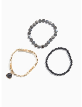 Mixed Metal Stretch Bracelet Set   Set Of 3 by Torrid