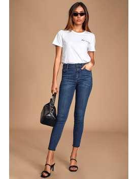 Outta Sight Dark Wash High Rise Raw Hem Skinny Jeans by Lulu's