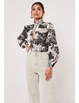 Black High Neck Printed Balloon Sleeve Wrap Bodysuit by Missguided