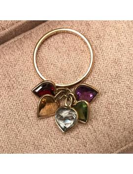14 K Gold 5 Stone Dangle Ring ❤️🧡💛💚💙💜 by Poshmark