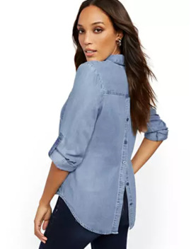 Ultra Soft Chambray Button Back Shirt   Soho Soft Blouse by New York & Company