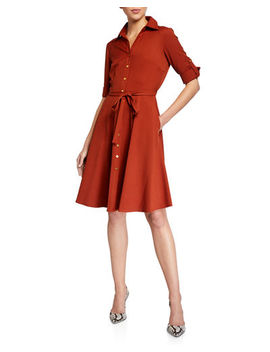 Neiman Marcus Button Down Belted Shirtdress by Neiman Marcus