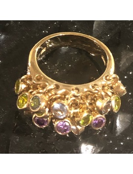 Gold Ring Stamped 925 With Multiple Stone by Gold Over Silver