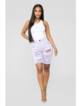 Mystery Girl Distressed Bermuda Shorts   Lilac by Fashion Nova