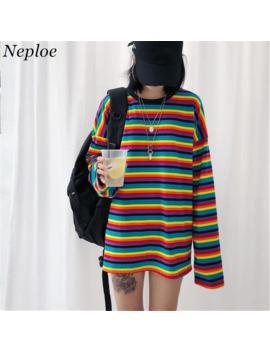 Neploe Rainbow Stripe T Shirt Autumn Harajuku Female Shirt Long Sleeve Plus Size Tshirts Woman Korean Tops Feminine 37059 by Ali Express.Com