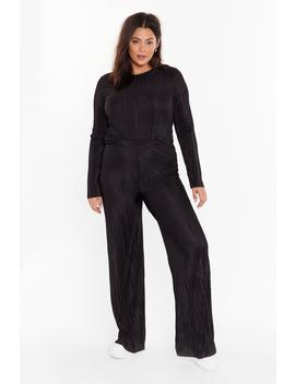 Plisse Be Mine Plus Top And Wide Leg Pants Set by Nasty Gal
