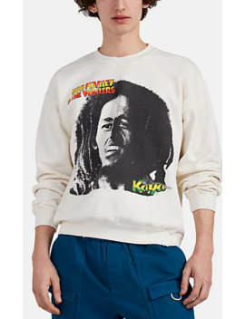 "\""Bob Marley\"" Distressed Cotton Blend Sweatshirt by Madeworn"