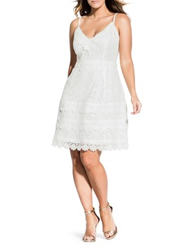 Nouveau Cotton Blend Lace Fit & Flare Dress by City Chic