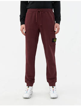 Brushed Cotton Fleece Pant In Dark Burgundy by Stone Island Stone Island