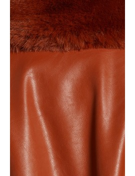 Faux Leather Coat With Faux Fur Trim by Blanknyc