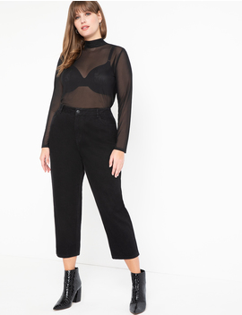 Mock Neck Mesh Top by Eloquii