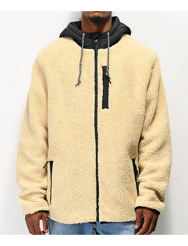 Dravus Denny Cream Colorblock Sherpa Jacket by Dravus