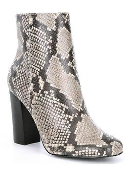 Pixie Snake Print Block Heel Booties by Steve Madden
