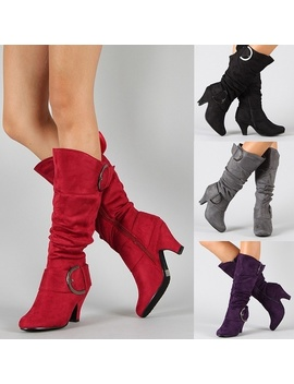 Women Winter Knee High Long Boot Women Soft Suede High Heel Boots 4 Color Autumn Wide Calf Fashion Low Heel Boots by Wish