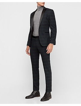 Extra Slim Green & Black Plaid Tuxedo by Express