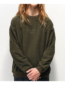Globe State Army Green Fleece Crew Neck Sweatshirt by Globe