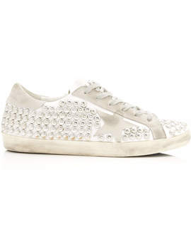 Superstar Distressed Studded Suede And Leather Sneakers by Superstar Distressed Studded Suede And Leather Sneakers