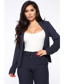 So Profesh Pinstripe Blazer   Navy by Fashion Nova