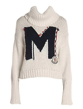 Oversized M Logo Knit Wool Blend Turtleneck Sweater by Moncler