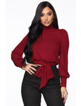 Lmk The Detail Tie Front Top   Burgundy by Fashion Nova