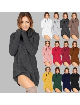 12 Colors Casual Knitwear Women Autumn Winter O Neck Turtleneck Sweates A Line Short Skirts Sweater Dresses Plus Size by Wish