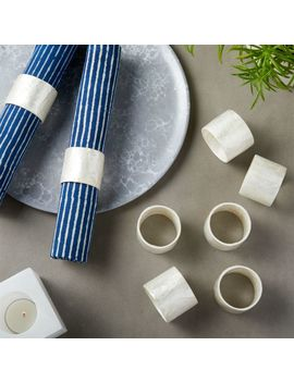 Capiz White Napkin Ring Set Of 8 by Crate&Barrel