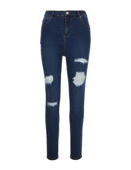 Chloe Vintage Blue High Waist Ripped Skinny Jeans by Simply Be
