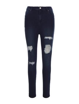 Chloe Indigo High Waist Ripped Skinny Jeans by Simply Be