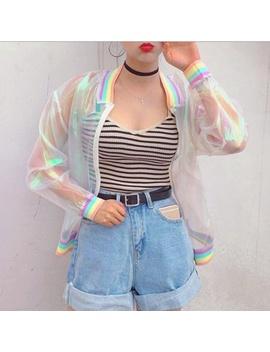 Sunproof Harajuku Summer Women Jacket Laser Rainbow Symphony Hologram Women Basic Coat Clear Rainbow Transparent Bomber Basic Coat by Wish