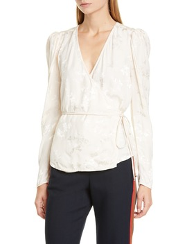 Eden Floral Jacquard Wrap Blouse by Veronica Beard
