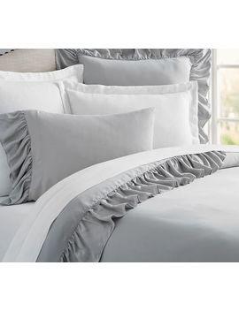 Tencel™ Ruffle Duvet Cover, Full/Queen, Gray by Pottery Barn