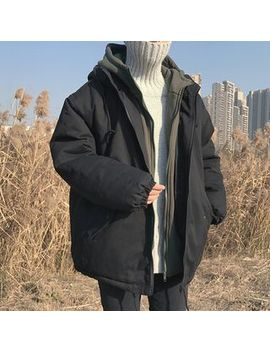 Lazi Boi   Mock Two Piece Hooded Padded Zip Jacket by Lazi Boi