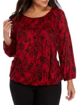Plus Size Lace Print Peasant Knit Top by Michael Michael Kors