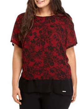 Plus Size Lace Print Split Back Blouse by Michael Michael Kors
