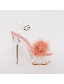 Lanny Pink Patent Fluffy Clear Platform Heels by Simmigirl
