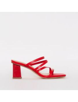 Maia Red Strappy Mid Block Mules by Simmigirl