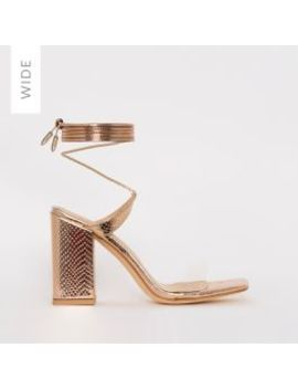 Ruby Wide Fit Rose Gold Snake Print Clear Lace Up Mid Block Heels by Simmigirl