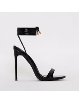 Whitney Black Patent Tie Up Stiletto Heels by Simmigirl