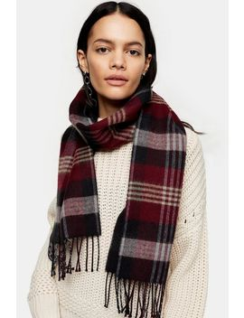 Burgundy Check Scarf by Topshop