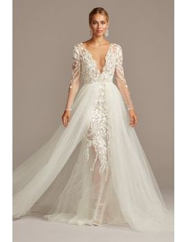 Embroidered Floral Illusion Bodysuit Wedding Dress by Galina Signature