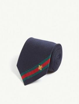 Logo Stripe Silk Tie by Gucci