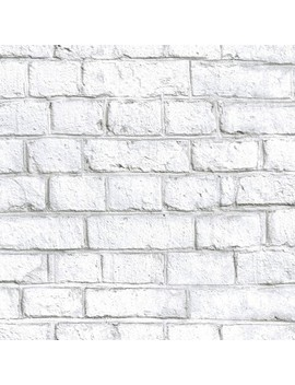 Room Mates 28.2' Brick P&S Wallpaper White by Room Mates