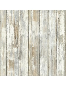Distressed Wood Peel And Stick Wallpaper Tan   Room Mates by Room Mates