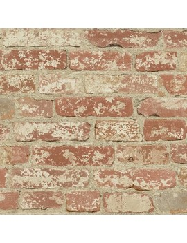 Stuccoed Brick Peel And Stick Wallpaper Red   Room Mates by Room Mates