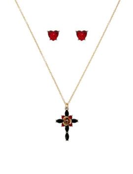 Goldtone & Crystal Cross Pendant Necklace & Heart Stud Earrings Set by Betsey Johnson