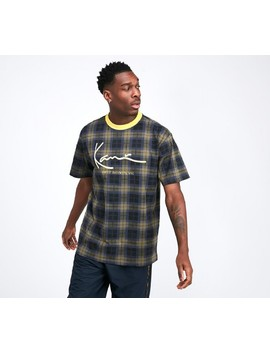 Signature Check T Shirt | Navy / Green / Yellow by Karl Kani