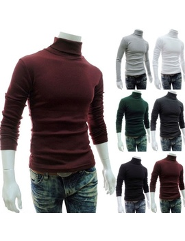 Men Thermal High Collar Turtleneck Pullover Long Sleeve Sweater Stretch Shirts by Canis