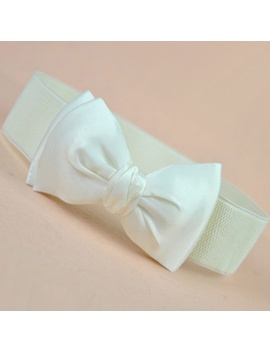 Bowknot Wide Waist Belt Stretch Buckle Waistband Bow Waistband by Wish