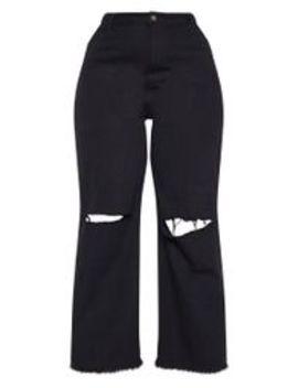 Plus Black Wide Leg Knee Rip Jean by Prettylittlething