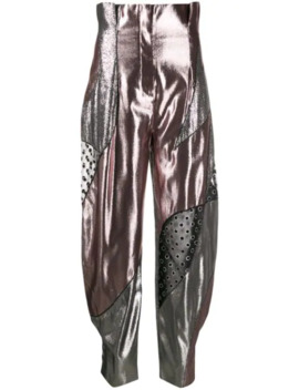 Metallic High Waisted Trousers by Alberta Ferretti